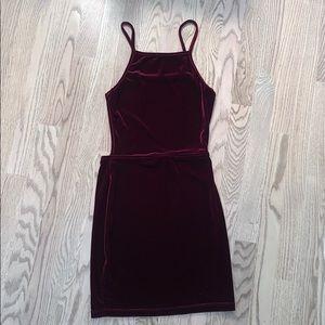 Dark Red Velvet Misguided Mini-Dress